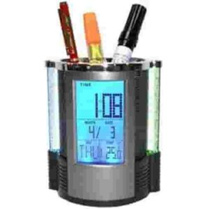 Digital Calender Pen Holder with Timer, Alarm Clock, Thermometer, Digital Pen Stand, Digital Clock, All in One Pen Stand, Office Organizer