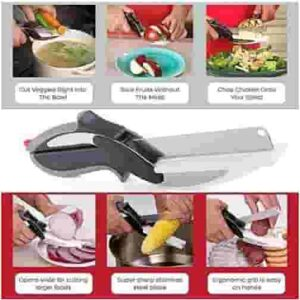Stainless Steel Clever Cutter 2 in 1 Kitchen Knife Cutting Board Scissors